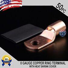 "50 PCS 1/0 AWG 0 GA Copper Ring Terminal Heat Shrink 5/16"" Hole Lug Connector US"