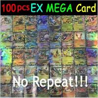 100pcs 80 EX+20 MEGA Cards Pokemon Card Holo Flash Trading GX Cards NO REPEAT