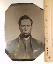 Original Civil War Ambrotype Union Lieutenant Whole Plate 5.75 x 8.5 Colored