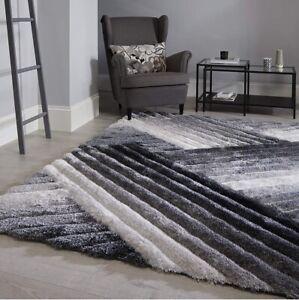 Hand Carved Shaggy Rug Verge Lattice Grey Living Bed Room Floor Area Carpet Rugs