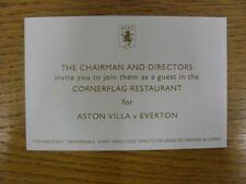 29/08/2010 Ticket: Aston Villa v Everton [Corner Flag Restaurant With Itinerary
