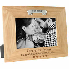 30th Wedding Anniversary Engraved Gift Oak Photo Frame 30 Years Pearl Gifts