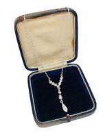 Silver Tone Necklace Collar Length Diamante Trim Sparkly Pretty Costume Gift