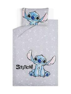Popular Grey Lilo and Stitch Easycare Duvet Set Single Riversible Pillowcase🎁