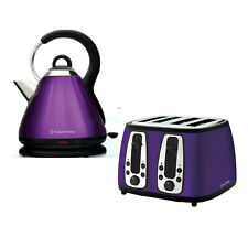 Russell Hobbs Purple Kettle + 4-Sl Toaster Breakfast Pack - Heritage - Brand New