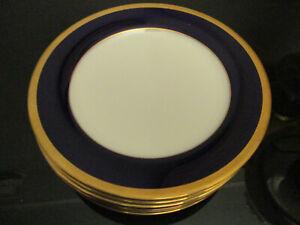 Set 6 Legacy By Noritake China Valhalla Gold Encrusted Cobalt Band Salad Plates!