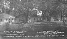 Council Bluffs Iowa Woodland Echoes Motel Roadside 1940s Postcard 20-7023