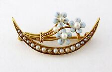 Antique Victorian 14K Gold Enamel Enameled Forget-me-not Honeymoon Pin