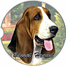 E&S Pets Absorbent Car Coaster Dog Breed Stoneware Basset Hound Hunting Puppy