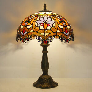 "Tiffany Style Dragon Tail Red Baroque Dia 12""  Stained Glass Table Reading Lamp"