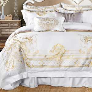 Queen Super King Size Bedding Sets Embroidery Duvet Cover Bed Sheet Fitted Sheet