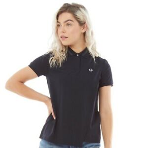 Fred Perry Women's Overlay Pique Shirt Navy UK8 G5117-608 RRP £79.99 BNWT