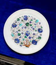 10'' Beautiful Marble Decorate Plate Lapis Malachite Inlay Floral Art Gift H4073