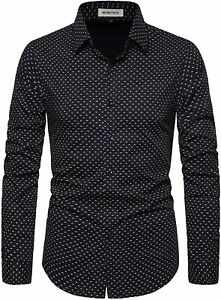 MUSE FATH Men's Printed Cotton Casual Long Sleeve Regular Fit Dress Shirt