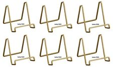 """(6) GOLD 4"""" Plate Stands Square Wire Display Easel 6 Pack Tripar 50224"""
