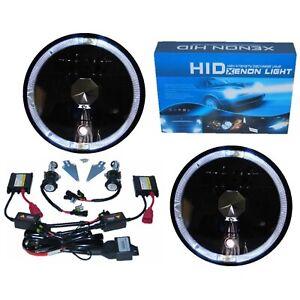 "7"" Black Headlight White Halo Angel Eye H4 6k 6000k HID Light Bulb Headlamp Pair"