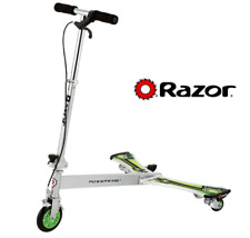 Razor PowerWing Dlx Caster Scooter Silver/Green Action Rippin' Side-to-Side Ride