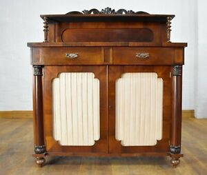 Antique carved rosewood Victorian chiffonier cabinet - sideboard - side cupboard