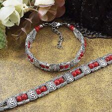 Tibetan Silver Jewelry Beads Bangle Turquoise Chain Bohemian women Bracelets