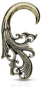 PAIR - ANTIQUE BRASS TRIBAL HANGER TAPERS GAUGES EAR PIERCING JEWELRY (16g-4g)