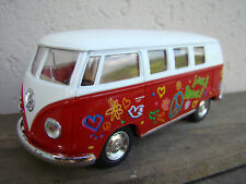 VW bus combi volkswagen love & peace 13cm,rouge clair, neuf