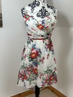 Lipsy London Size 8 Floaty Floral Asymmetrical White Summer Dress NWOT Wedding