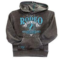 Cowgirl Hardware Girls' Brown Burnout Rodeo Rock Star Hooded Pullover 471223-660