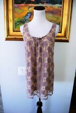 CAbi Top Intrigue Lavender FLOWER Medium Lace Overlay Nude Lining Tank # 663