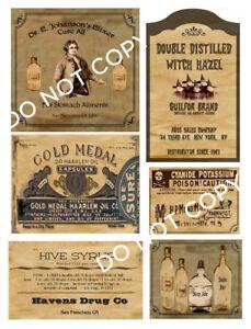 Primitive Medicine Box or Labels Set Sheet #13