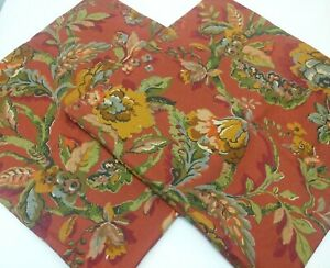 """PAIR Pottery Barn Vanessa Linen Blend Red Floral Scroll Pillow Covers 24"""" Square"""