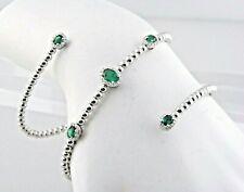 Emerald & Diamond Rolling Beaded Bracelet in 18k White Gold Best Deal