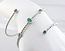 Emerald & Diamond Rolling Beaded Bracelet in 18k White Gold