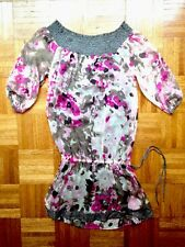 Liu Jo Silk dress pink white gray multi color floral Women Dress Size S