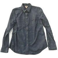 Lucky Brand Pearl Snap Shirt Medium M Women Western Cowgirl Denim Chambray Blue