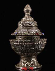 Tibet brass Silver plating Set gemstone Cans