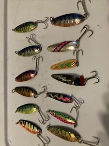 13 Trolling Spoons Lot Of Salmon Trout Walleye Lures