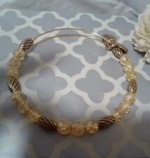 Alex and & Ani Yellow Sunlight Beaded Water Color Gold Bangle Bracelet Rare