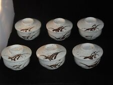 6 x Japanese? Studio Porcelain Covered Rice Soup Bowls Hand Painted 8cm High VGC
