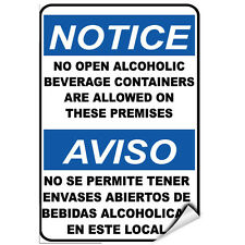 Notice No Open Alcoholic Beverage Containers Are Allowed LABEL DECAL STICKER