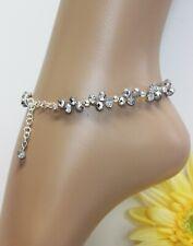 Glass Jewels Silber Fußkettchen Fußkette Perlen Party Größenverstellbar #J085