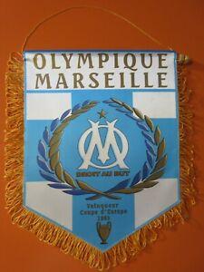 grand Fanion OLYMPIQUE DE MARSEILLE OM titre pennant Ligue des Champions 93 32cm