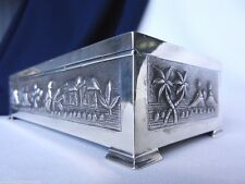 SOLID SILVER CIGARETTE BOX 1900c STERLING SILVER 560GM ANTIQUE TOP QUALITY