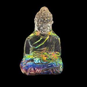 1pce 11cm Glass Buddha Figurine, Multi Coloured Rainbow Effect, Rulai Decor