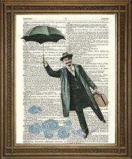 FLYING UMBRELLA MAN: Surreal Art Print, Fun Vintage Dictionary Page Wall Hanging