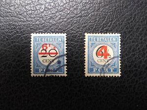 Netherlands #J28, J42 Used, 1906 & 1909 Surcharges,  Scott Catalog Value $ 10.00