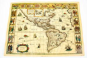 Map of America: Americae Nova Tabula A Guilielmo Blaeuw, 1660 Print Lithograph