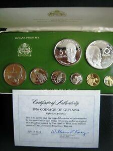 1976 GUYANA - OFFICIAL PROOF SET (8) w/ 2 SILVER CROWNS & COA - 2 Oz - BEAUTY!