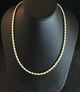 """Sterling Silver Necklace Bead Ball Scalloped Gold Accents 20.25"""" 18.8g 925 #1667"""