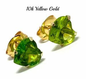 10k Yellow Gold 6mm Peridot Heart Cut Earrings Beautifully Dainty