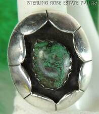 Vintage Hand Craft Shadowbox TURQUOISE STERLING SILVER .925 Cocktail RING sz 6